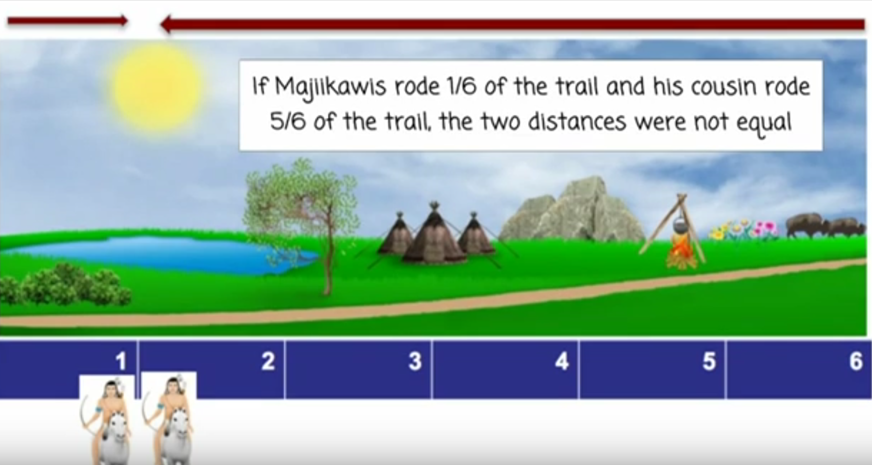 Fractions problem with two Native American hunters at 1/6 and 5/5