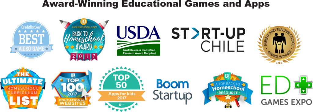 Many awards won by 7 Generation Games for educational game design