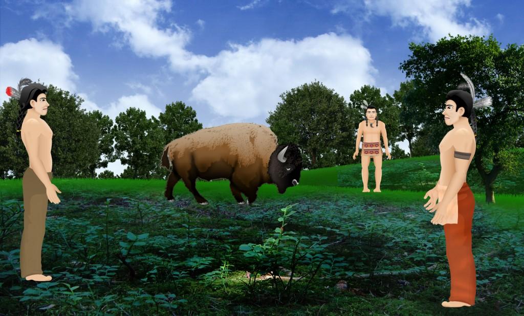 3 men and a buffalo