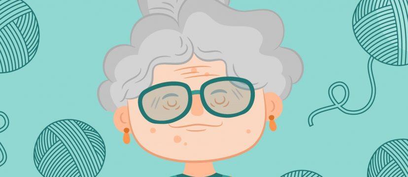 Freepik.com Grandma with yarn balls around her