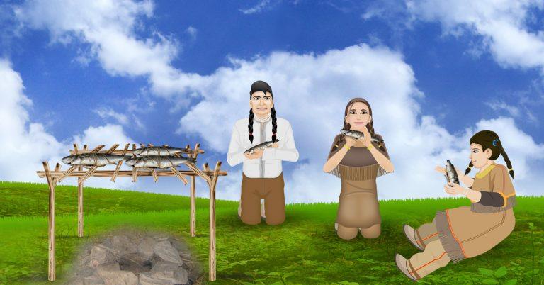 Ojibwe family eating fish